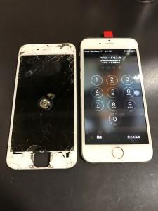 全体が割れている画面に割れたホームボタン 修理完了後のiPhone6