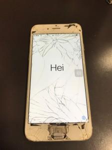 画面全体が割れホームボタンが無くなったiPhone6s