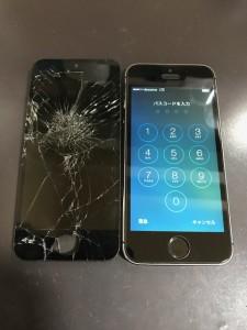 物を落として割れ画面と修理後のiPhoneSE