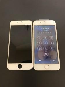 何も映らない画面と修理後のiPhone6s