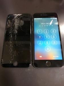 上部分から割れている画面と修理後のiPhone7