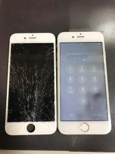 ガラスが粉々になったiPhone6