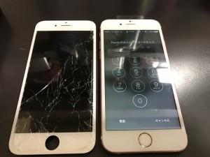 ガラスがパキパキに割れたIPHONE6