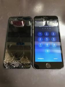 パネルの下部がバキバキに破損したiPhone6s