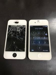 iPhone4と破損した画面