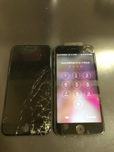 右下が割れている画面と修理後のiPhone6