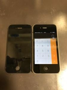液晶不良の画面と修理後のiPhone4