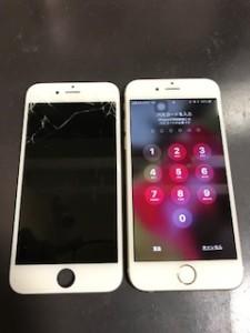 画面上部が破損したiPhone6