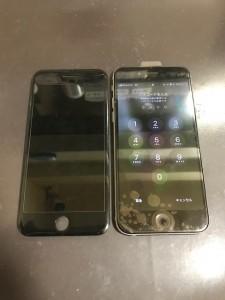映らなくなった画面と修理後のiPhone6