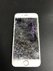 ガラスが粉々に粉砕したiPhone6