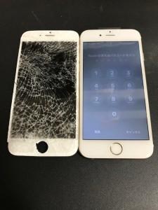 ガラスが粉々になった画面と修理後のiPhone6