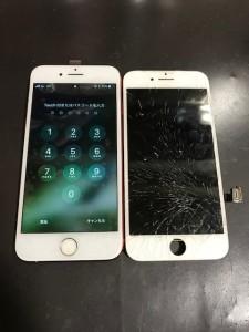 iPhone7と割れたガラス