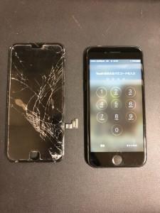 交換する前の画面と交換後のiPhone7
