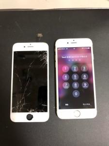 割れてしまった画面と修理完了後のiPhone6