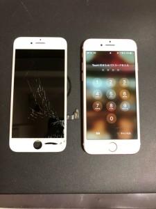 ホームボタン右側に穴が開いた画面と修理完了後のiPhone7