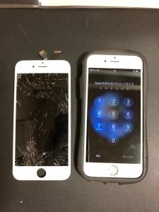 画面全体が割れた画面と修理が完了したiPhone6