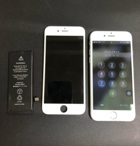 水没で壊れたバッテリーと画面と修理完了後のiPhone6