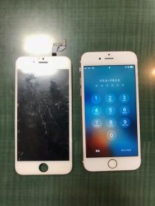 割れでタッチが効かなくなった画面と修理後のiPhone6s