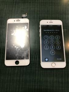 全体が割れてしまっている画面と修理完了後のiPhone6s