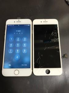 割れたガラスと修理後のiPhone7