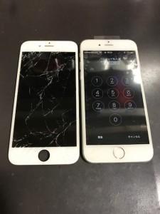 亀裂が入った画面とiPhone6s