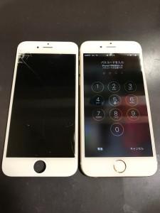 割れた画面とiPhone6s