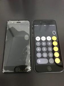 アイフォン6sと破損した画面