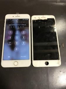 iPhone7Plusと割れた画面