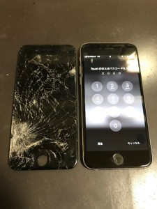 左下部分から割れている画面とiPhone6s