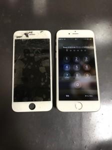 内カメラ周辺が割れている画面と修理後のiPhone6