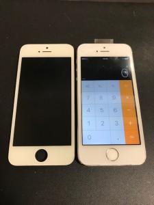 交換した画面と修理後のiPhone5s