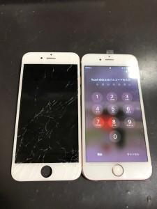 下半分が割れている画面と修理後のiPhone6