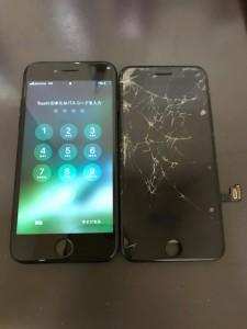 画面上部から中部に亀裂が入ったiPhone7