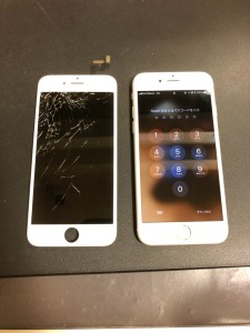 液晶漏れが起こりかけている画面と修理したiPhone6s