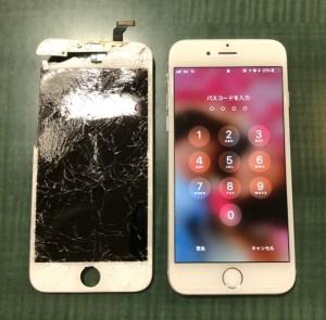 車に踏まれた画面と修理後のiPhone6