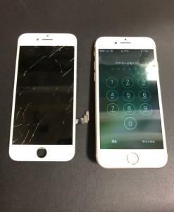 液晶の表示がおかしくなった画面と修理後のiPhone7