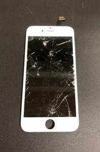 上部が液晶漏れをしているiPhone6の画面