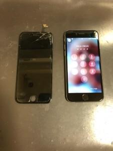 角から割れたiPhone6s