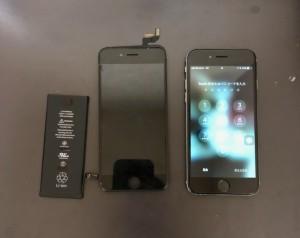 交換した画面とバッテリー 修理完了後のiPhone6s
