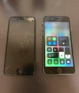水没して割れている画面と修理したiPhone6s