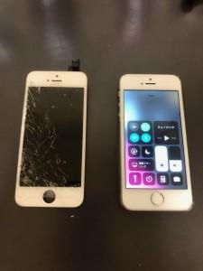 左下周辺が割れた画面と修理後のiPhoneSE