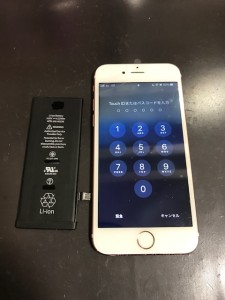 アイフォン6sと交換後のバッテリー
