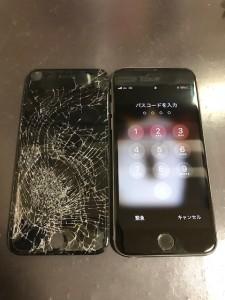 ガラスがバキバキに割れたiPhone6のパネル