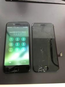 画面下部が割れたiPhone7
