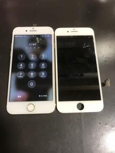 画面上部に亀裂が入ったiPhone7