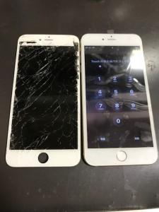 iPhone6Plusと交換後の割れたパネル