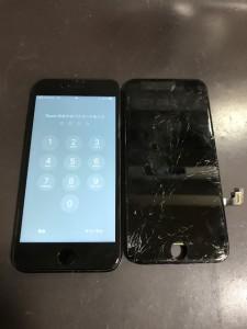 ガラスに細かい亀裂が入ったiPhone7