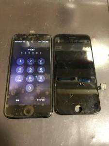 アイフォン7と交換後の傷ついた画面