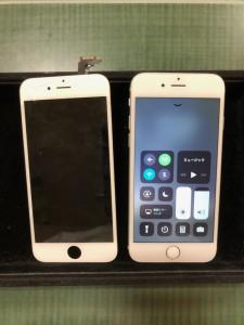 左上が割れている画面と修理後のiPhone6