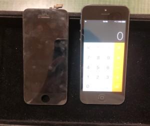 液晶漏れが起きている画面と修理後のiPhone5